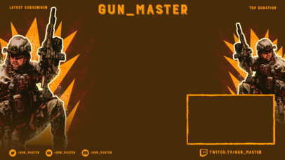 Twitch Overlay Maker for a Battle Royale Gameplay Featuring an Armed Character 3535e