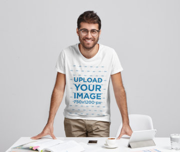 Studio Mockup of a Man With Glasses Wearing a T-Shirt in a Work Setting m2913-r-el2