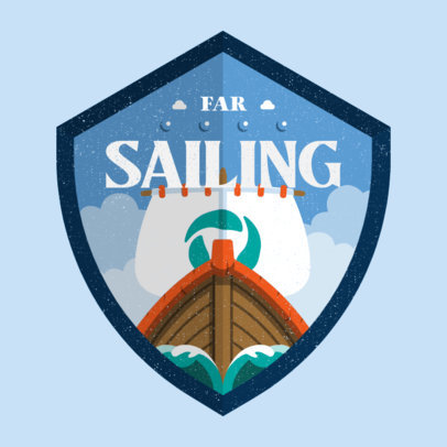 Gaming Logo Generator Featuring a Shield with a Vikings Ship Illustration 4213l