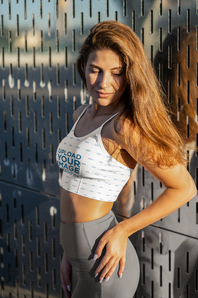 Sports Bra Mockup of a Long-Haired Woman Posing m3691-r-el2