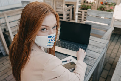 Face Mask Mockup of a Long-Haired Woman Working m3687-r-el2