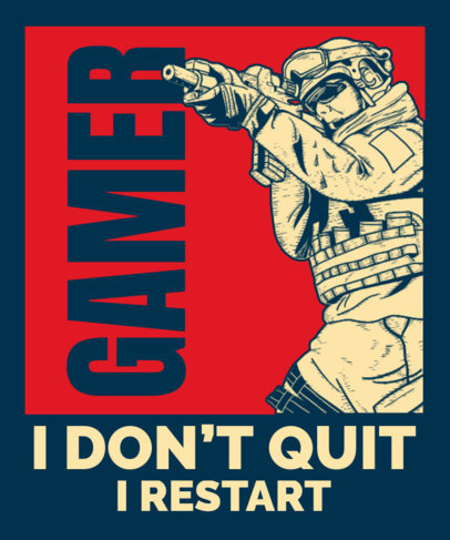 Gaming T-Shirt Design Template Featuring a Political-Inspired Style 3557