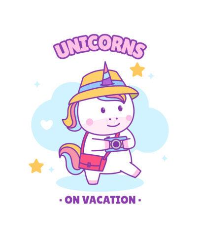 Kid's T-Shirt Design Maker Featuring a Cute Chubby Unicorn Cartoon 3758-el1