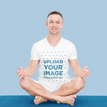 V-Neck Tee Mockup Featuring a Smiling Man Meditating on the Floor m2955-r-el2