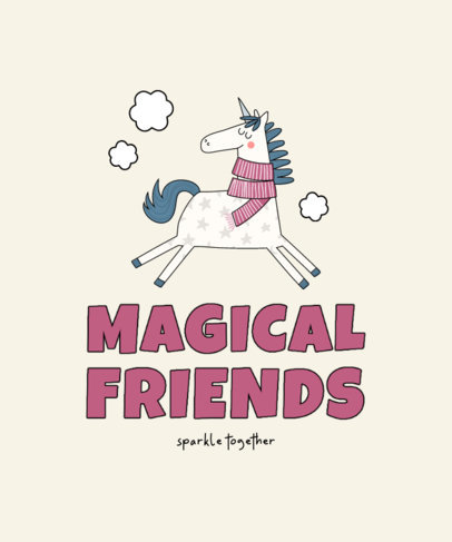 Kids' T-Shirt Design Template with Fun Illustrations of Unicorns 3764-el1