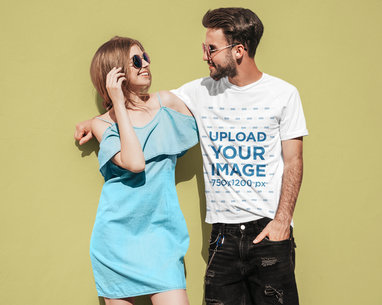 Round Neck Tee Mockup of a Man Hanging with His Girlfriend M4175-r-el2