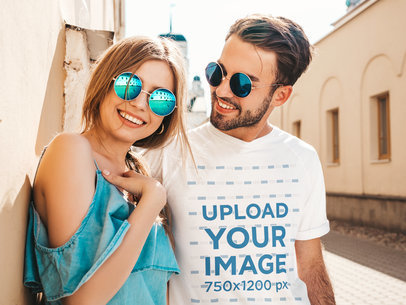 Tee Mockup of a Smiling Man Wearing Matching Sunglasses with His Girlfriend M4791-r-el2