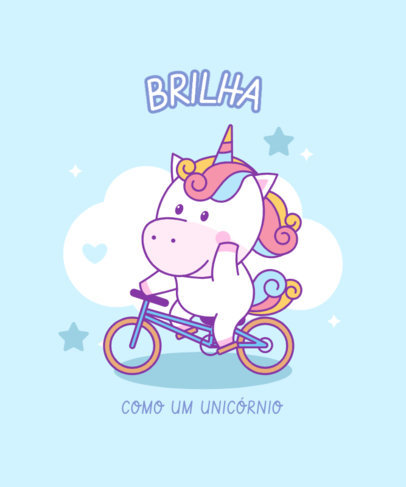Cute T-Shirt Design Template Featuring a Unicorn Riding a Bike 3758a-el1