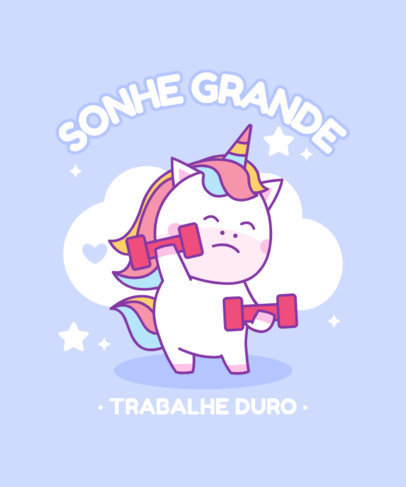 T-Shirt Design Template Featuring a Cute Unicorn Exercising 3758d-el1