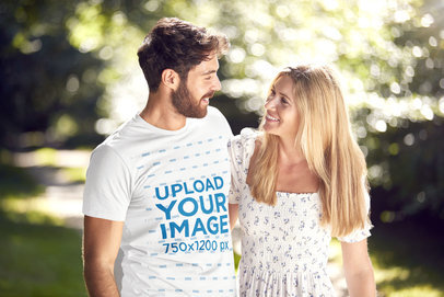 Basic T-Shirt Mockup of a Bearded Man Walking With His Girlfriend at a Park 45780-r-el2