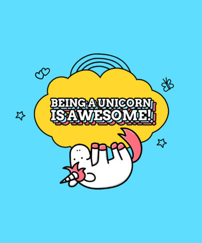 T-Shirt Design Template Featuring an Awesome Unicorn Clipart 3760a-el1