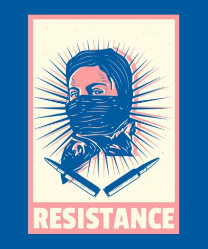 T-Shirt Design Generator Featuring a Revolutionary Woman Illustration 3560b