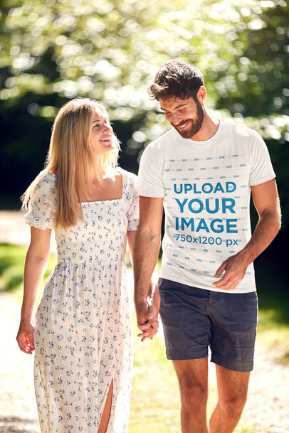 Mockup of a Man Wearing a Basic T-Shirt and Walking With His Girlfriend 45782-r-el2