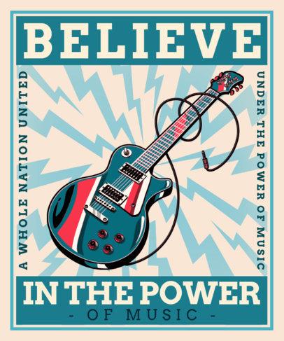 T-Shirt Design Maker for Musicians Featuring a Les Paul-Inspired Guitar 3558C