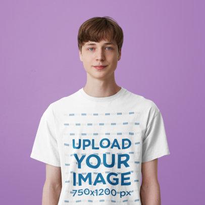 T-Shirt Mockup of a Young Man Standing Against a Plain Color Backdrop m4882-r-el2