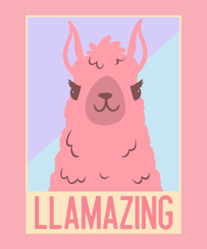 Clever T-Shirt Design Template Featuring a Llama Graphic 3556a