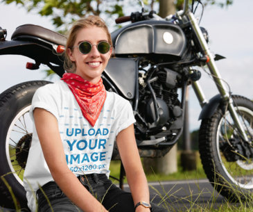 T-Shirt Mockup of a Young Woman Posing by a Motorcycle m3157-r-el2