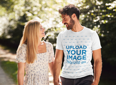 T-Shirt Mockup Featuring a Happy Man and His Girlfriend Surrounded by Nature 45781-r-el2