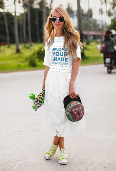 T-Shirt Mockup of a Young Woman Posing on the Street m4166-r-el2