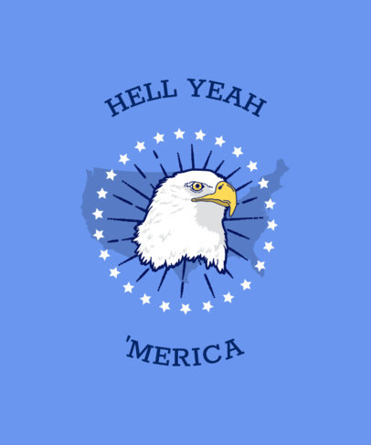 Patriotic T-Shirt Design Template Featuring a Bald Eagle Icon 42f