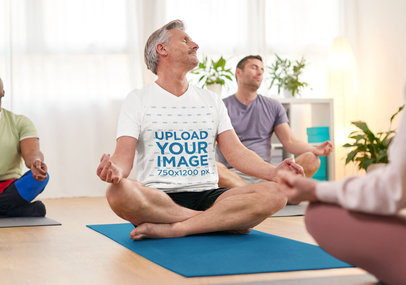 V-Neck Mockup of a Senior Man Meditating in a Yoga Class 46682-r-el2