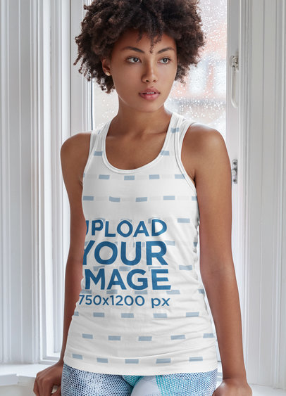 Mockup of a Woman Wearing a Tank Top on a Rainy Day m4092-r-el2
