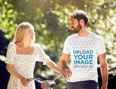 Basic T-Shirt Mockup Featuring a Bearded Man With His Girlfriend 45784-r-el2
