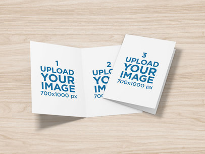 Mockup of Two Greeting Cards on a Customizable Surface 5222-el1