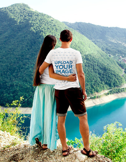 Back-View Tee Mockup of a Man with His Girlfriend Admiring a Lake View m3985-r-el2