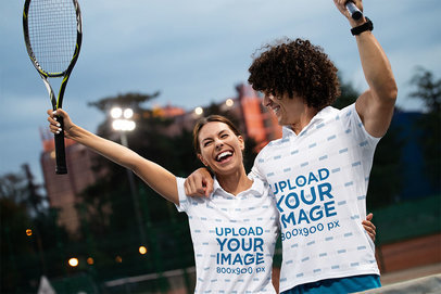 Polo Shirt Mockup Featuring a Cheerful Couple with Tennis Rackets m2777-r-el2