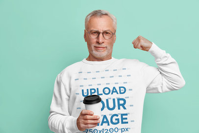 Sweatshirt Mockup Featuring a Senior Man With Glasses m3631-r-el2