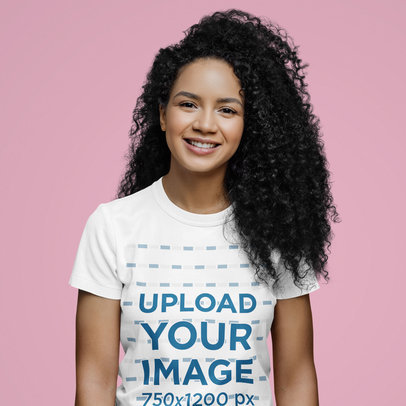 T-Shirt Mockup Featuring the Closeup of a Curly-Haired Woman m3081-r-el2