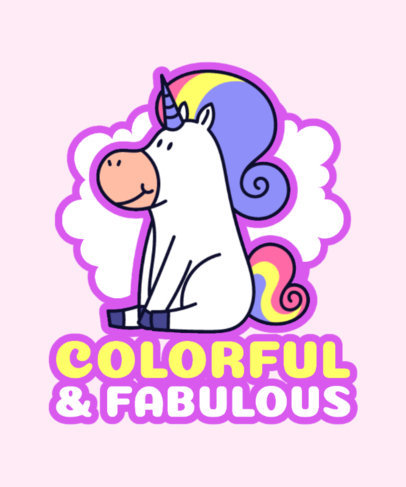 Cartoonish T-Shirt Design Template Featuring a Fabulous Unicorn Clipart 3576d