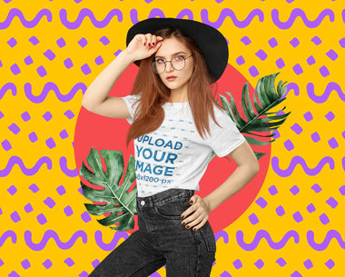 T-Shirt Mockup of a Trendy Woman with a Creative Collage Backdrop m5945-r-el2