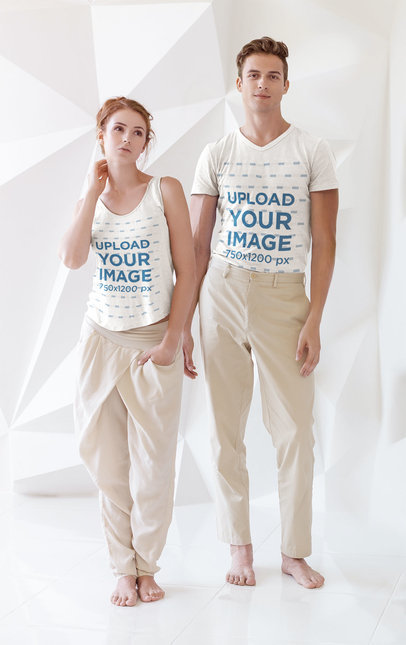 Tank Top and Tee Mockup of a Man and a Woman Standing in a Cool Set m3976-r-el2