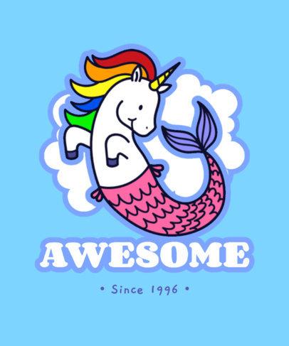 T-Shirt Design Maker Featuring a Mermaid Unicorn Illustration 3576c