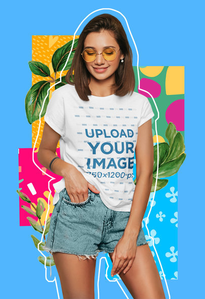 Colorful T-Shirt Mockup Featuring a Young Woman Against a Collage-Styled Background m5947-r-el2