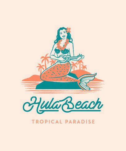 Summer T-Shirt Design Maker Featuring a Retro Mermaid Illustration 3567c
