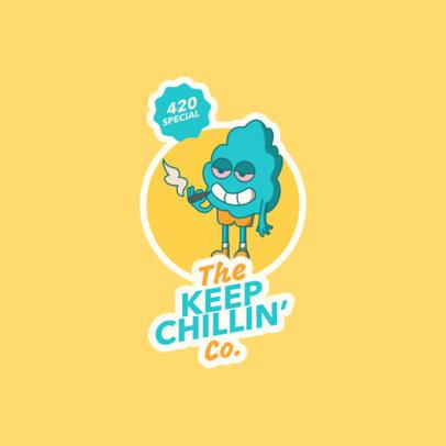 Marijuana-Themed Logo Template Featuring a Bud Cartoon 3779