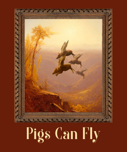 T-Shirt Design Template With an Oil Painting Featuring Flying Pigs 3563h