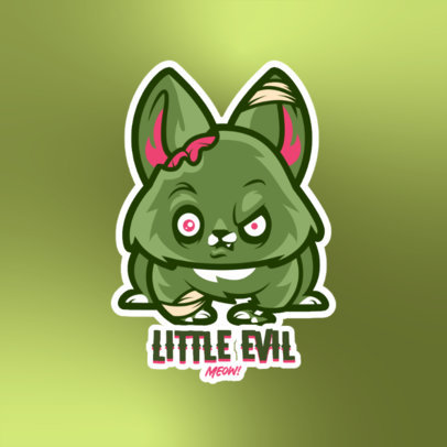 Gaming Logo Template Featuring a Cute Zombie Cat Cartoon 4228a