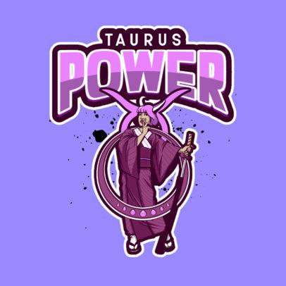 Zodiac-Themed Logo Generator Featuring a Female Warrior Clipart 4231a