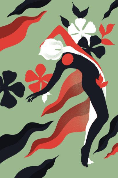 Surrealistic Art Print Design Maker With Flower Graphics 3564e