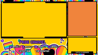 Twitch Overlay Design Template with LGBTQ-Themed Sticker Graphics 3586