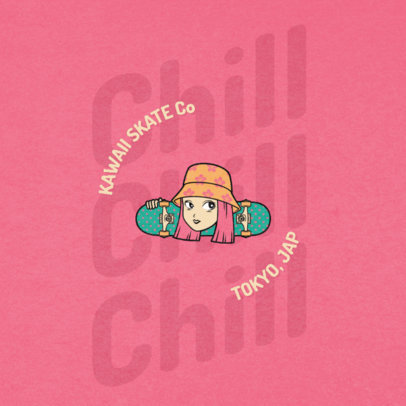 Logo Creator for an Authentic Skate Shop Featuring a Cool Girl 2264b-el1