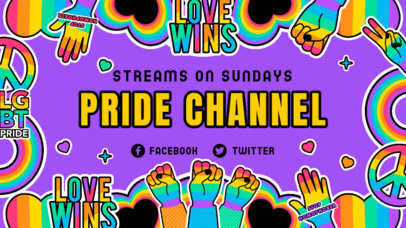 Twitch Banner Design Template with LGBTQ-Themed Sticker Graphics 3586