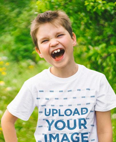Basic T-Shirt Mockup of a Kid Laughing m3121-r-el2