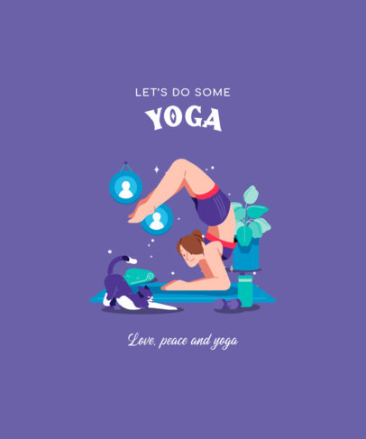 T-Shirt Design Template Featuring Yoga Illustrations in a Modern Style 3803-el1