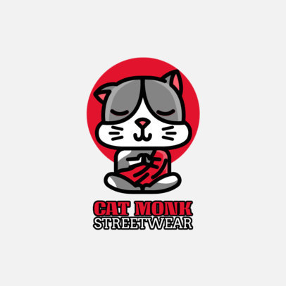Illustrated Streetwear Logo Creator Featuring a Cat Meditating 264e-el1