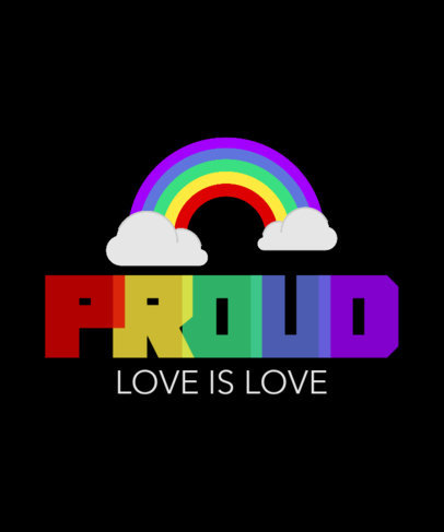 T-Shirt Design Template with LGBTQ Pride-Themed Graphics 3591